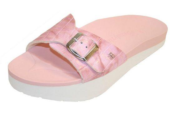 dynamic24 Pantolette Beautystep Aktiv Sandalen Schuhe Anti Cellulite Slipper Kroko Design rosa Fußbett