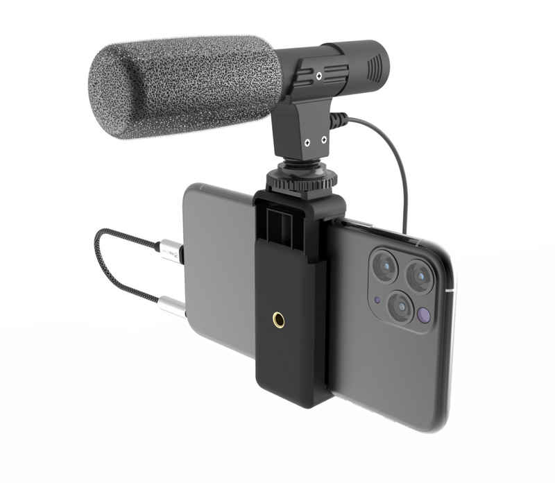 DigiPower Richtmikrofon »Shotgun-Mikrofon mit Smartphone-Halterung, Nierencharakteristik, 30-18KHz, -40dB«