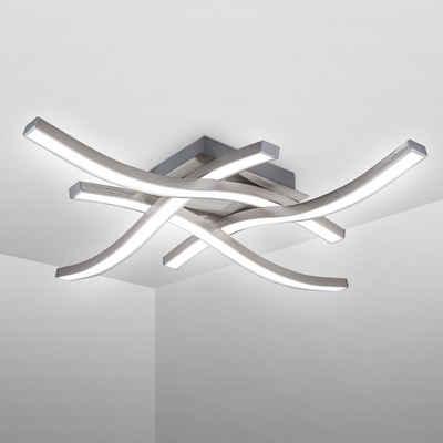 B.K.Licht LED Deckenleuchte, LED Deckenlampe 4.000K Neutralweiß 20 Watt 2.000 Lumen Aluoptik Geschwungen
