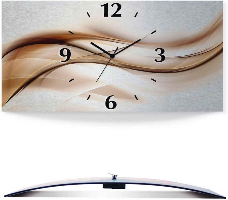 Artland Wanduhr »Braune abstrakte Welle« (3D Optik gebogen, silber-metallic, lautlos, ohne Tickgeräusche, nicht tickend, geräuschlos - wählbar: Funkuhr o. Quarzuhr, moderne Uhr für Wohnzimmer, Küche etc. - Stil: modern)