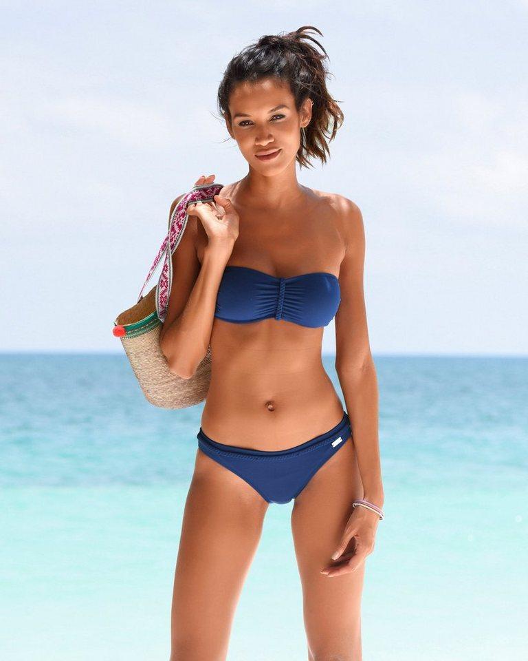 Bademode - Buffalo Bikini Hose »Happy«, mit geflochtenem Ziergürtel › blau  - Onlineshop OTTO