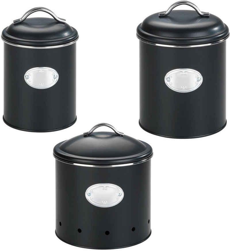 WENKO Vorratsdose »Nero«, Metall, (Set, 3-tlg), lackiertes Metall, 1,6 Liter
