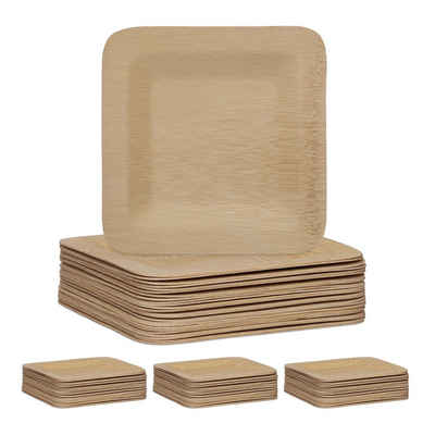relaxdays Einwegteller »100 x Bambus Teller eckig 18 cm«