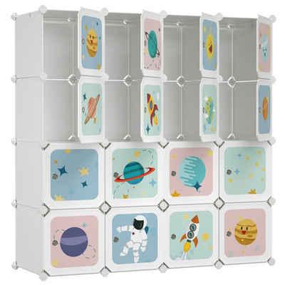 SONGMICS Kleiderschrank »LPC905W01« DIY-Aufbewahrungsschrank, für hängende Kleidung, für Kinder, mit 16 Würfeln, weiß