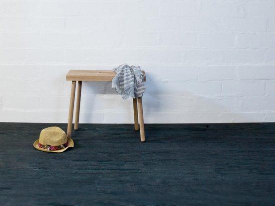 kommod Hocker »HOQDI«, Sitzhocker, Blumenhocker, Designhocker, Beistelltisch klein, Dekohocker – 46 x 55 x 20 cm – Eiche massiv natur
