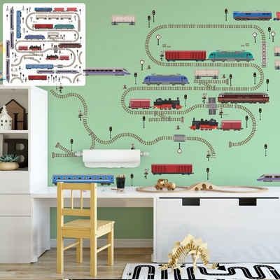 Sunnywall Wandtattoo »XXL Eisenbahn Zug Lokomotive Wandtattoo Set verschiedene Motive Kinderzimmer Aufkleber bunt Wanddeko«