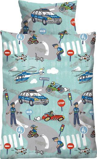 Kinderbettwäsche »Ela«, Biberna, mit tollen Polizei Motiven
