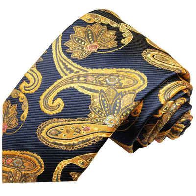 Paul Malone Krawatte »Elegante Seidenkrawatte Herren Schlips modern paisley brokat 100% Seide« Breit (8cm), blau gelb gold 2025