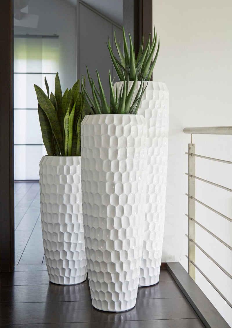 Flingora Bodenvase »Celice«, mit Einsatz - Fiberglas Pflanzvase - Indoor & Outdoor - Wabenstruktur Weiß - Höhe 75 cm / Ø 34 cm