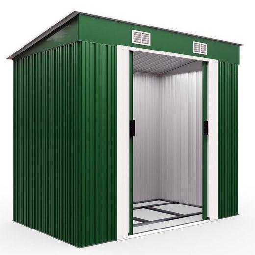 Gardebruk Gerätehaus, L Metall 2m² mit Fundament 196x122x182cm Schiebetür Grün Geräteschuppen Gartenhaus 3,4m³