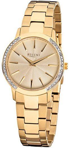 Regent Quarzuhr »URF1055 Regent Damen-Armbanduhr gold Analog F-1055«, (Analoguhr), Damen Armbanduhr rund, Edelstahlarmband gold
