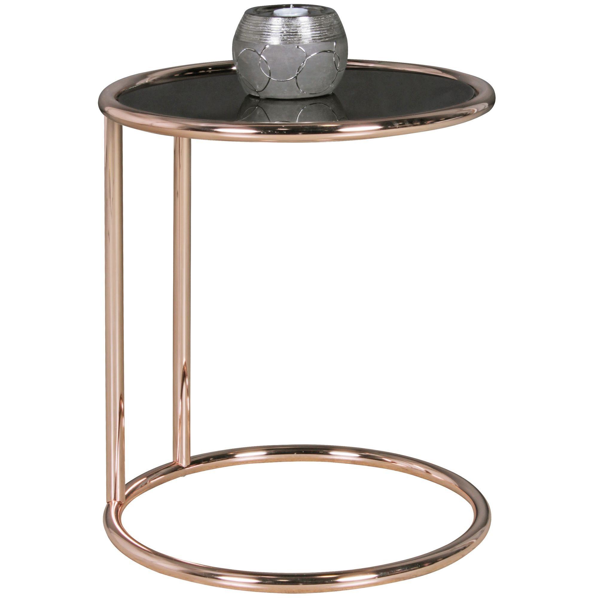 Beistelltisch »WL5.241«, Design Metall Glas ø 45 cm Schwarz / Kupfer Wohnzimmertisch verspiegelt Couchtisch modern Glastisch Sofatisch rund