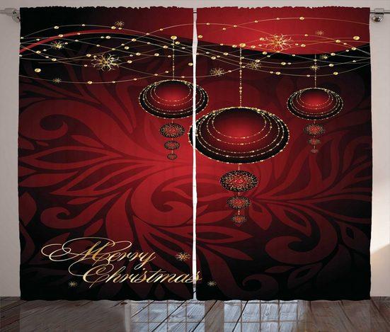 Gardine »Schlafzimmer Kräuselband Vorhang mit Schlaufen und Haken«, Abakuhaus, Weihnachten yuletide Celebration