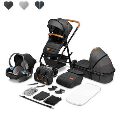 lionelo Kombi-Kinderwagen »Amber 3in1«, babyschale 0-13kg Tasche Moskitonetz Regenschutz 3in1 Reichhaltiges Zubehörset
