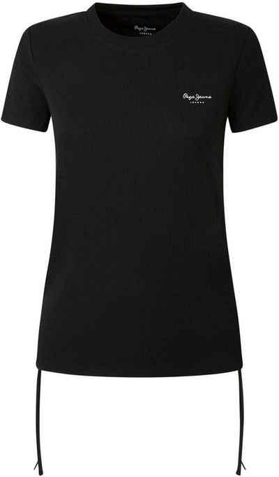 Pepe Jeans T-Shirt »PAIGES« mit seitlichen Kordeln zum Raffen und kleinem Marken-Schriftzug im Brustbereich
