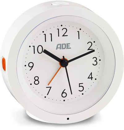ADE Wecker »CK1719« analog, geräuschloser Wecker ohne Ticken mit automatischem Nachtlicht-Sensor, weiß