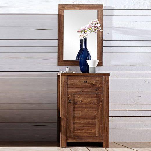 Lomadox Garderoben-Set »BERN-36«, (Spar-Set, 2-tlg), Flurmöbel Set Schuhschrank und Spiegel in Akazie Dunkel, B x H x T ca.: 65 x 200 x 40 cm