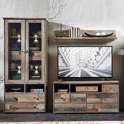 Lomadox Wohnwand »BRANSON-36«, (3-tlg), TV Mediamöbel Driftwood braun Vitrine mit LED, Lowboard und Wandregal, B x H x T ca.: 228 x 188 x 52 cm