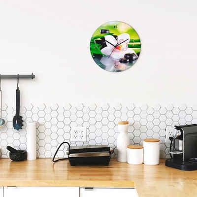 Artland Wanduhr »Spa Steine Bambus Zweige Orchidee« (lautlos, ohne Tickgeräusche, nicht tickend, geräuschlos - wählbar: Funkuhr o. Quarzuhr, moderne Uhr für Wohnzimmer, Küche etc. - Stil: modern)