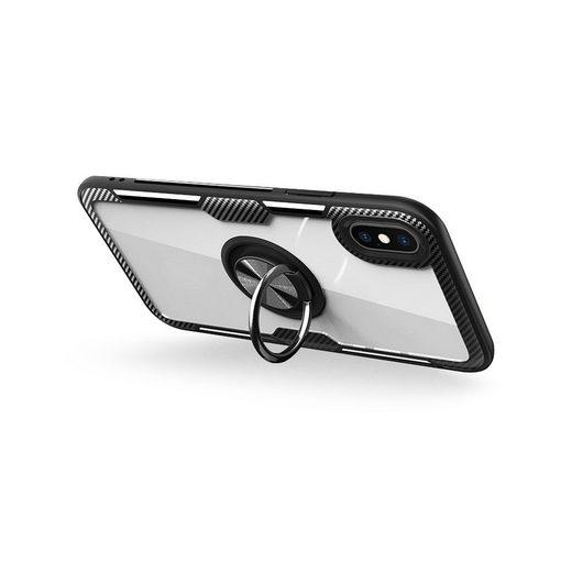 cofi1453 Bumper »Premium Handy Hülle Carbon Transparent Dezente Schale Bumper drehbarer Ring 360 Grad Halter Ständer Magnetisch für Samsung Galaxy A71 (A715F)« Samsung Galaxy A71