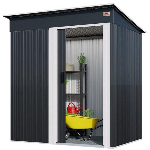 Gardebruk Gerätehaus, M 1,4m² 181x162x86cm Schiebetür verzinkter Stahl Anthrazit Gartenhaus Gerätehaus Pultdach 3m³