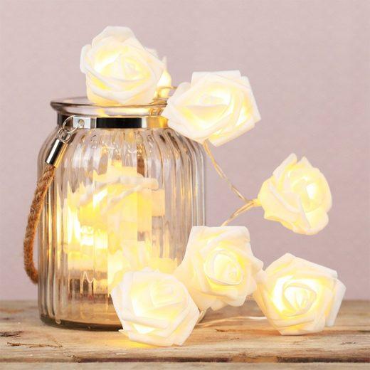 MARELIDA LED-Lichterkette »LED Lichterkette Rosen Rosenblüten 10 warmweiße LED 1,65m Batteriebetrieb weiß«, 10-flammig