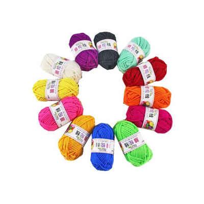 kueatily »Packung mit 12 Wollgarnen zum Stricken, bunte Acrylwolle zum Häkeln, Häkelgarn, Baumwollgarn, dicke Wolle für Anfänger in 12 leuchtenden Farben (je 13 g)« Nähgarn