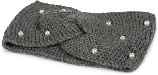styleBREAKER Stirnband »Strick Stirnband mit Twist Knoten und Perlen«