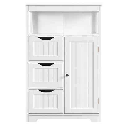 Yaheetech Badkommode, Badezimmerschrank, Badschrank aus Holz mit 3 Schubladen weiß
