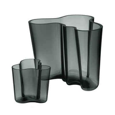 IITTALA Glas »Set iittala Aalto Vasen dunkelgrau 16 cm + 9,5 cm«, Kristallglas, mundgeblasen, freiverformt