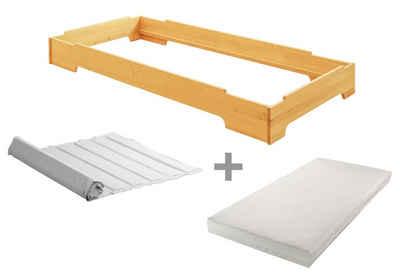 BioKinder - Das gesunde Kinderzimmer Stapelbett »Kai«, 90x200 cm Gästebett mit Lattenrost und Matratze