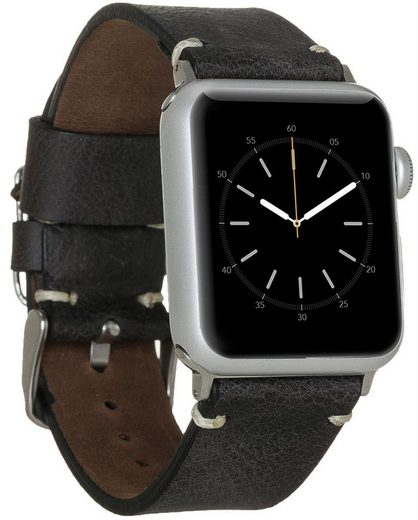 Burkley Uhrenarmband »Apple Watch Vintage Leder Wechsel-Armband BA6TN« (Uhrenarmband Inkl. Anschluss-Set für die Apple Watch in 42/44mm, bestehend aus silberfarbiger Dornschließe und silberfarbigen Connectoren), kompatibel mit Apple Watch Series 1-6 in 42/44mm