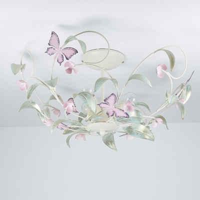 Licht-Erlebnisse Deckenleuchte »SUMMER Deckenleuchte Weiß Rosa Metall floral Küche Esszimmer Lampe«