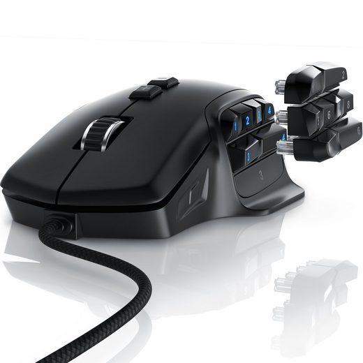 "Titanwolf Gaming-Maus (kabelgebunden; USB, MMO Gaming Maus ""System"" Auswechselbare Daumen Tasten / 10000 dpi)"