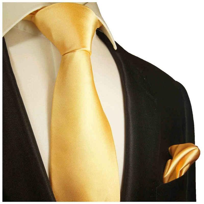 Paul Malone Krawatte »Herren Seidenkrawatte Schlips mit Tuch modern uni satin 100% Seide« (Set, 2-St., Krawatte mit Einstecktuch) Breit (8cm), gelb 851