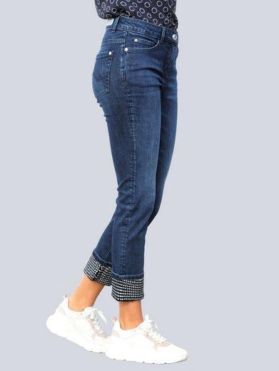 Alba Moda 5-Pocket-Jeans mit Paillettenverzierung am Saumaufschlag