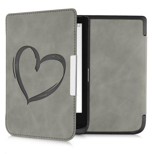 kwmobile E-Reader-Hülle, Hülle für Pocketbook Touch Lux 4/Lux 5/Touch HD 3/Color (2020) - Kunstleder eReader Schutzhülle Cover Case - - Herz Brush Design
