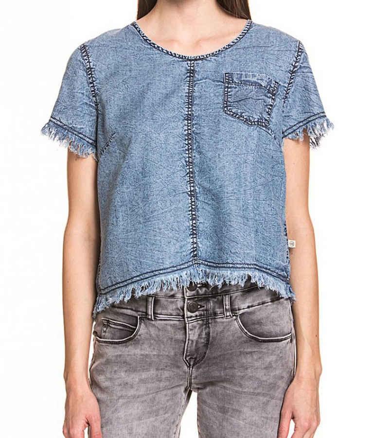 Herrlicher Shirttop »Herrlicher Fanette Blusen-Top luftige Damen Sommer-Bluse Sommer-Shirt mit Rückenschlitz Blau«