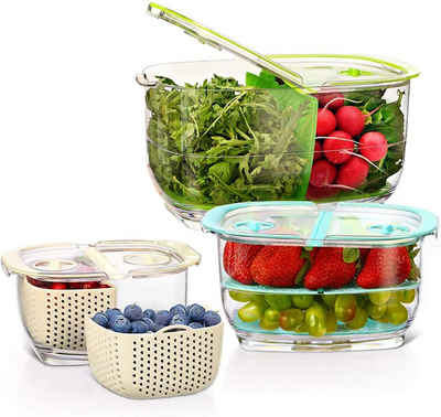 Luxear Vorratsdose, hochwertigem BPA-freien und lebensmittelechten Kunststoff(AS+ABS), (Set, 3-tlg., 3), 4,4L+1,8L+0,48L Vorratsdosen mit Deckel Ventil Abtropfgitter, BPA-Freie Kühlschrank Aufbewahrungsbox, Einstellbare 2-Fach Küche Organizer, Vorratsbehälter