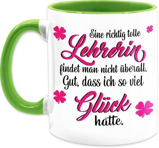 Shirtracer Tasse »Eine richtig tolle Lehrerin findet man nicht überall - Kaffeetasse Job Geschenk - Tasse zweifarbig«, Keramik, Beruf Teetasse
