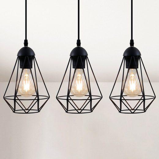 B.K.Licht LED Pendelleuchte, mit Drahtkörbchen E27