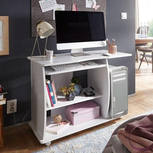 Wohnling Schreibtisch »WL1.152«, Computertisch DIANA rollbar Weiß 90 x 71 x 50 cm mit Tastaturauszug Laptop Tisch auf feststellbaren Rollen PC-Tisch mit Drucker-Ablage platzsparend für kleine Räume