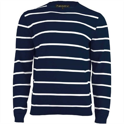 hemmy Fashion Streifenpullover Sweater Pulli Herrenpullover mit weißen Streifen, versch. Ausführungen und Größen
