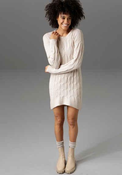 Aniston CASUAL Longpullover mit trendigem Zopfmuster - NEUE KOLLEKTION