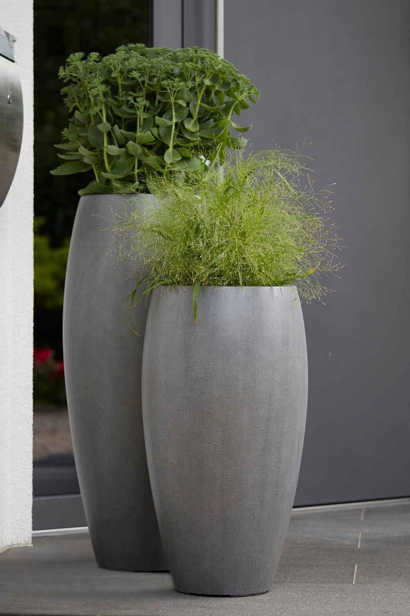 Flingora Bodenvase »Cinthia«, mit Einsatz - Fiberglas Pflanzvase - Indoor & Outdoor - Matt Staubgrau - Höhe 65 cm / Ø 35 cm