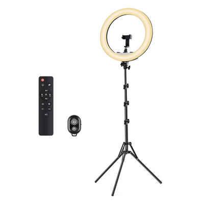 Tomons Ringlicht »LED Ringlicht, 18 Zoll dimmbares Make-up Selfie Ringlicht, mit zwei Handyhalterungen, Fernbedienung, höhenverstellbar, Farbtemperatur 2700-6500K für Fotoshooting, Vlog-Aufnahmen, Live-Streaming«