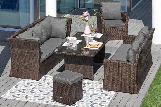 MERXX Loungeset »Mallorca«, 18-tlg., 2 3er-Sofa, Sessel, Hocker, Tisch, Polyrattan
