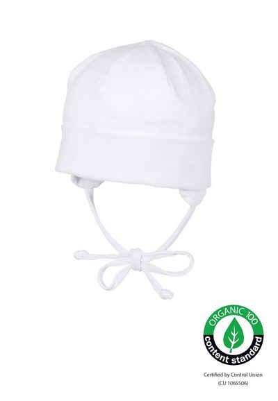 Sterntaler® Beanie »OCS Beanie« (1-St) aus Organic Cotton; mit Umschlag, Ohrenklappen und Bindeband