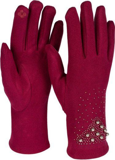 styleBREAKER Fleecehandschuhe Touchscreen Handschuhe mit Strass und Perlen