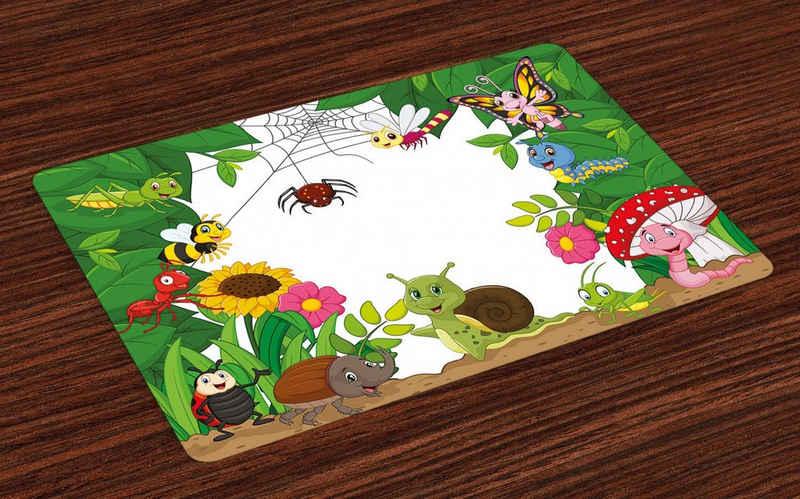 Platzset, »Waschbare Stoff Esszimmer Küche Tischdekorations Digitaldruck«, Abakuhaus, (4-teilig, 4 Teilig-St., Set aus 4x), Kindergarten Kleine Bugs Schmetterlinge